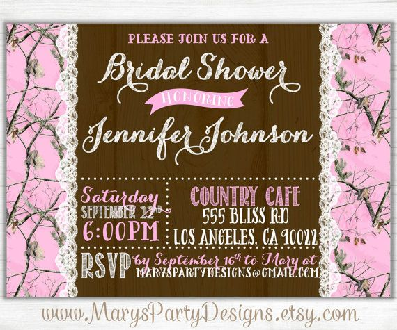 Pink Camo Wood N Lace Bridal Shower by MarysPartyDesigns on Etsy, $20.00