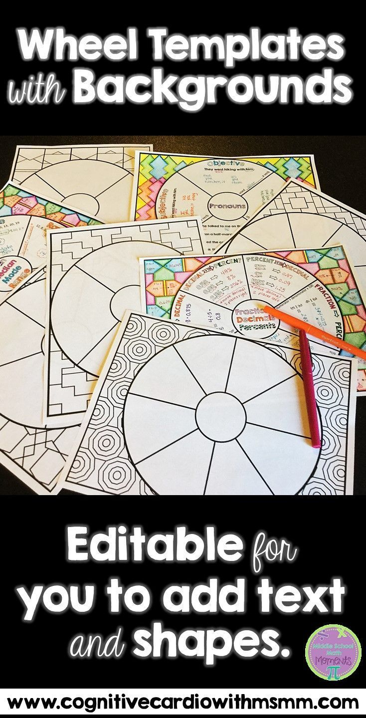Use these editable wheel templates (with backgrounds) to create wheels for any content area for your interactive notebooks.Great for memory wheels too!
