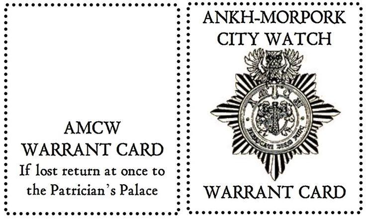 Výsledek obrázku pro ankh morpork warrant card