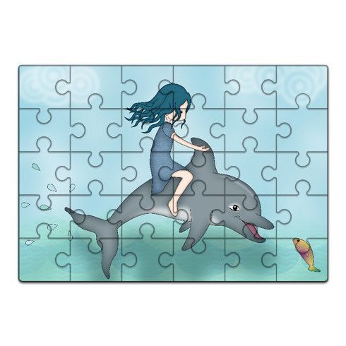 Whimsical Dolphin Girl Jigsaw by cm-designstyle at zippi.co.uk