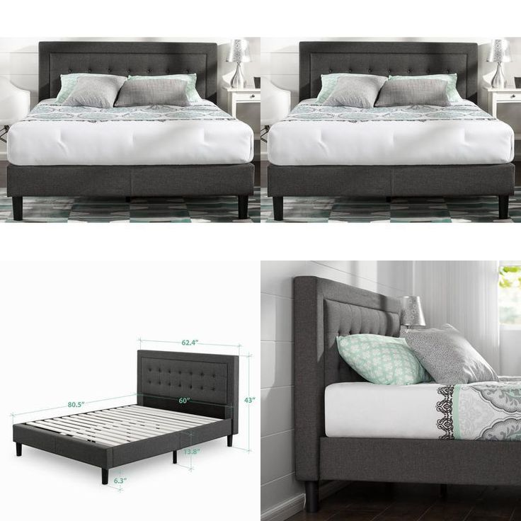 Queen Size Tufted Bed Frame Platform Upholstered Bedroom Wood Headboard Slats #Zinus