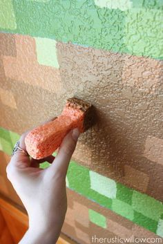 Make a DIY Minecraft Wall entirely with sponges! | therusticwillow.com