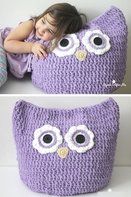 Crochet Oversized Owl Pillow - Free Pattern