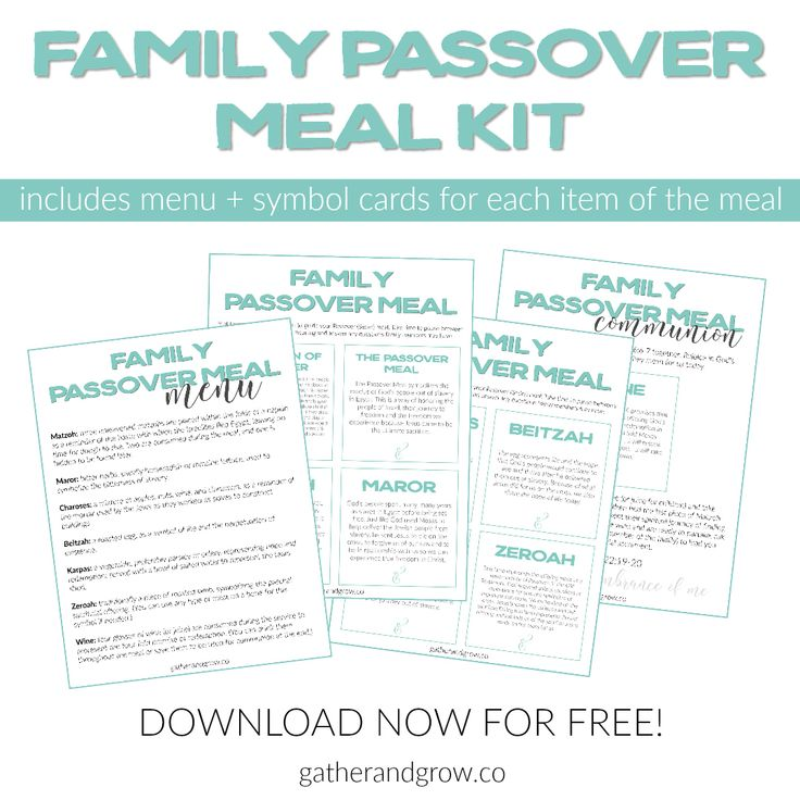 Family Passover meal menu and symbol cards. Free printable kit to help you share a traditional Seder dinner with kids.