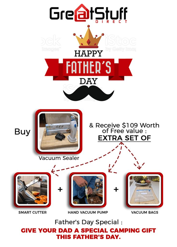 Special offer!! In the privilege of Father's day, Greatstuff announced a bumper offer for you! Buy #vacuumsealer worth $229 and get an extra set of smart cutter, hand vacuum pump and vacuum bags. Limited period offer! Visit https://goo.gl/9NPhkv to get more information.