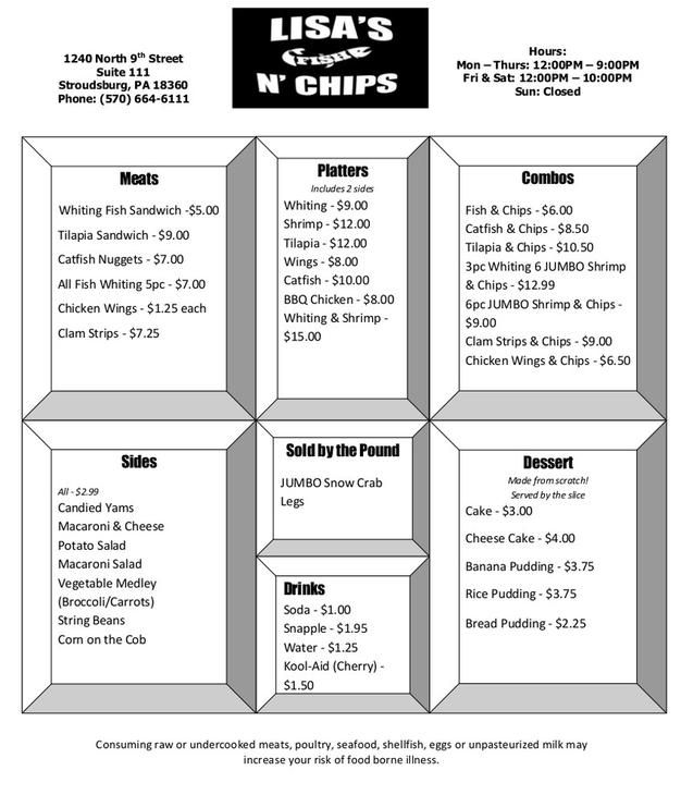 menu seafood southern style dish cakes and pies Fish and Chips soul food best seafood pocono stroudsburg best top pies Fresh Fish and Chips Soul Food bbq