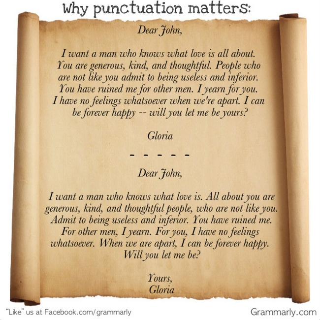 Why punctuation matters. It makes a huge difference in the meaning of your writing!: