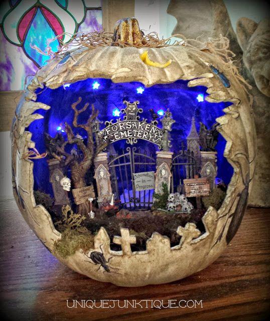 Unique Junktique: Spooky Graveyard Diorama Pumpkin with Decoupage