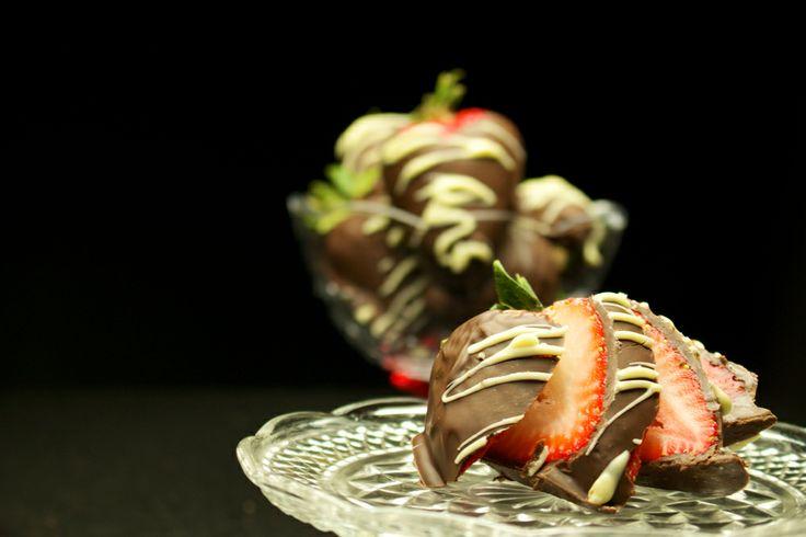 Chocolate covered strawberries  ISO 400 Shutter speed 1/60 Aperture f/5.6
