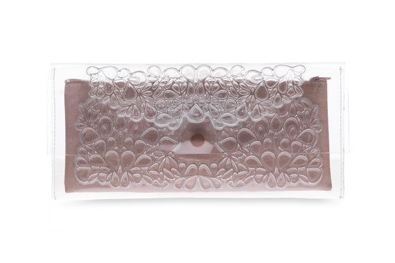Transparent clutch bag, clear PVC clutch purse, rectangular vinyl clutch handbag, clear clutch purse w/ gold color non leather inner lining