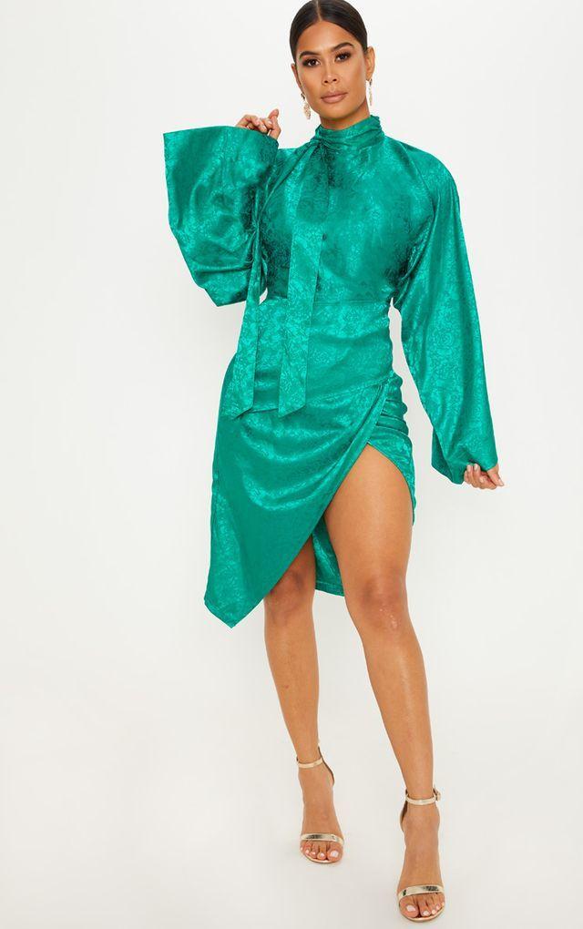 a99fb8443abc Emerald Green Floral Tie Neck Kimono Sleeve Midi Dress