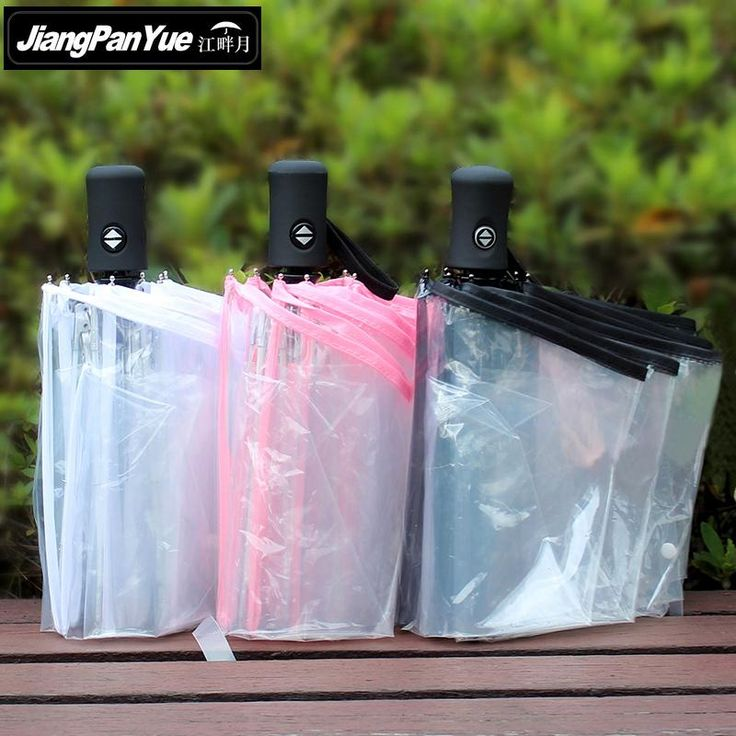 Transparent 3 Folding Automatic Umbrella Thickness More Safer Go out Paraguas Transparente Rain Women #Affiliate
