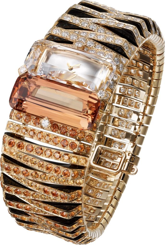 """CARTIER. High Jewelry """"Pelage Tigre"""" visible hour watch, mechanical movement with manual winding, caliber 101. Pink gold case and bracelet set with a cushion-shaped faceted topaz of 18.78 carats, 382 brilliant-cut diamonds totaling 11.35 carats, 213 faceted spessartite garnets totaling 10.07 carats, black lacquer motif, translucent lacquered silvered sunray effect dial, 18K pink gold sword-shaped hands. Unique piece. Wrist size: 175 mm.  #CartierMagicien #2016"""