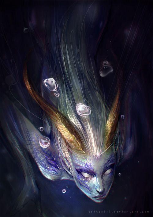 Digitale Kunst Fantasy // Meerestiere // Meerjungfrau // (Ich kann das in meinem