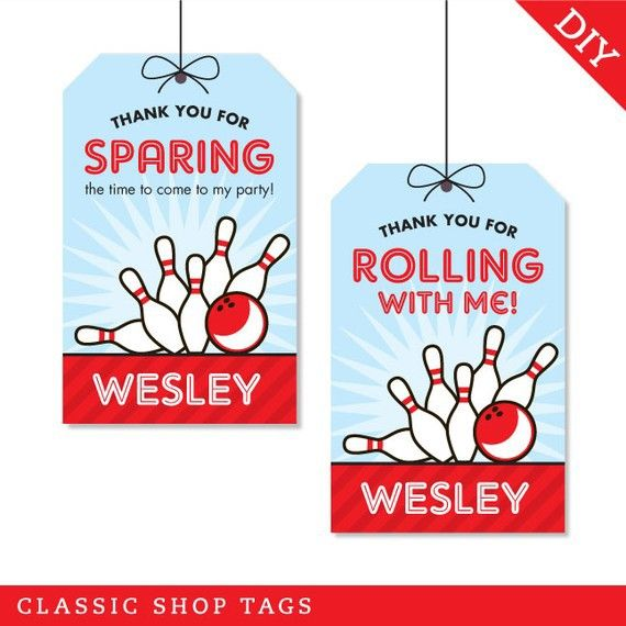 Bowling Party Favor Tags (Digital File) - Strike up some fun with this awesome bowling party theme!