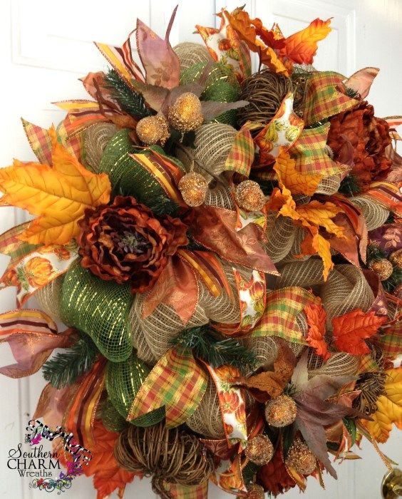 deco mesh wreaths fall | Deco Mesh Fall Wreath For Door or Wall Burlap Grapevine Pumpkins Moss ...