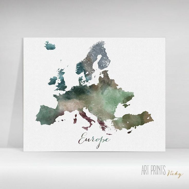 Europe map watercolour poster