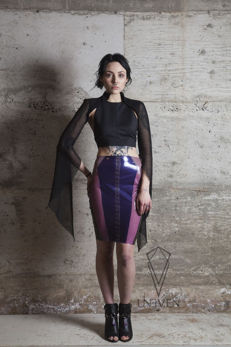 Uneven Temptress Bolero, Alchemy crop top and Crystal Cluster Pencil Skirt