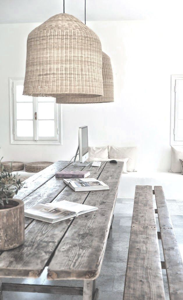 LOVE: Dining | Working | reclaimed wood. Find the perfect chandelier and stand out chairs.   See more home design ideas at http://www.homedesignideas.eu/ #contemporary #interiordesign