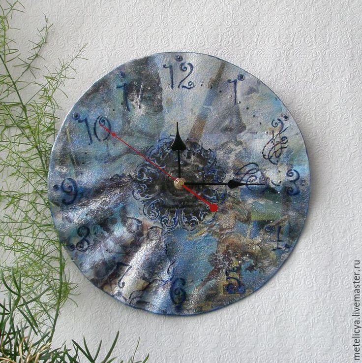 Купить Часы настенные Ночь Дали - синий, раритет, антиквариат винтаж, виниловая пластинка, Дали
