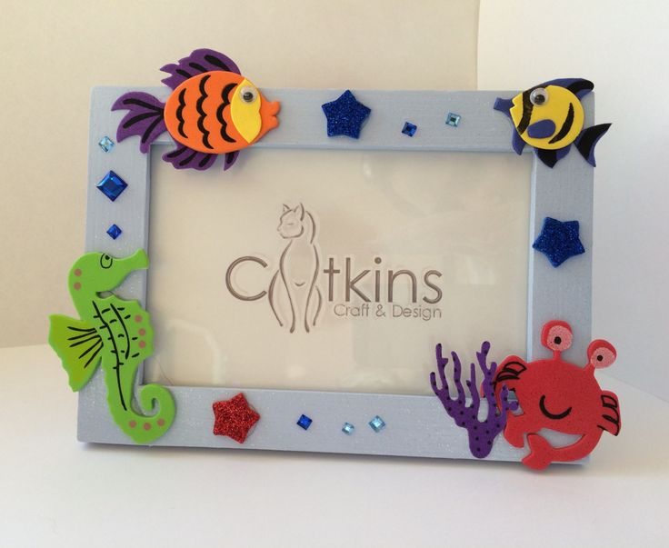 Blue Fish Picture Frame by CatkinsCrafts on Etsy