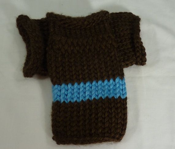 Knit Wrist Warmers Blue and Brown Fingerless Gloves by JandSKnitts #etsy #knitting #winter #texting #gloves