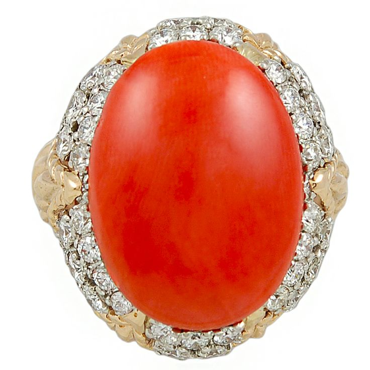 VAN CLEEF & ARPELS Cabochon Coral & Diamond Ring | From a unique collection of vintage dome rings at http://www.1stdibs.com/jewelry/rings/dome-rings/