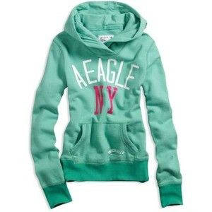 American Eagle Hoodie | American Eagle AE Women's Eagle Graphic Shawl Hoodie Mint Bunch ...