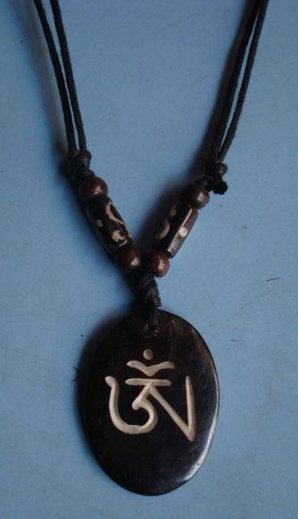 Tibetan Om Yak Bone Pendant Handmade Nepal