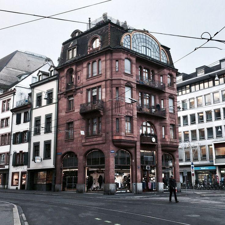 basel switzerland europe winter architecture grandeur facades street view purple corner palace