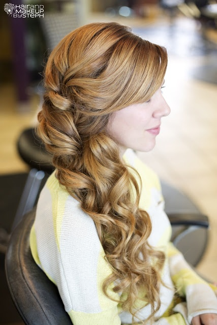 Beautiful Side-Swept Bridal Hair - wish I could wear my hair like this everyday, except without the bangs!