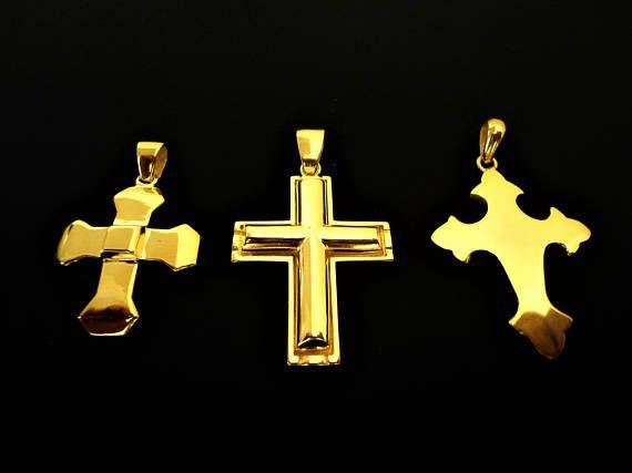 Cross Pendant 18K Gold plated. 925 Silver Pendants.