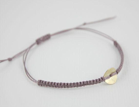 Macrame Friendship Bracelet Mauve with Brass Coin Accent by Riemke