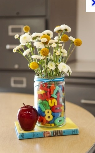 MOPS centerpiece-love the magnetic letters...could also use buttons, shells, beads, etc to make different for each discussion group.