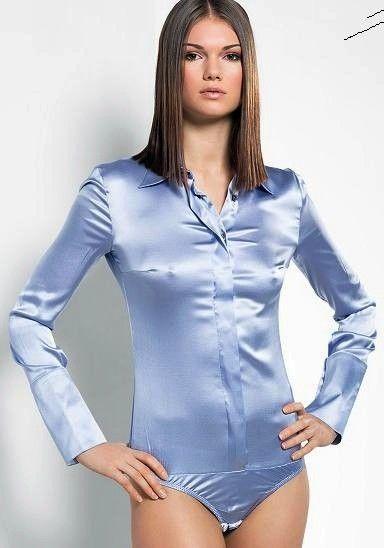 Silk and satin blouse fetish