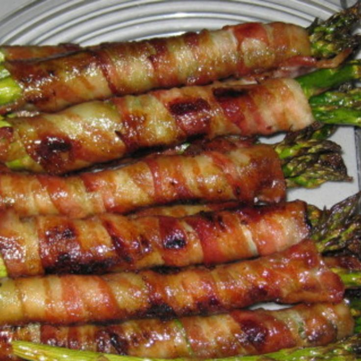 Bacon-Wrapped Asparagus - butter, brown sugar, garlic & soy sauce... Sounds heavenly!