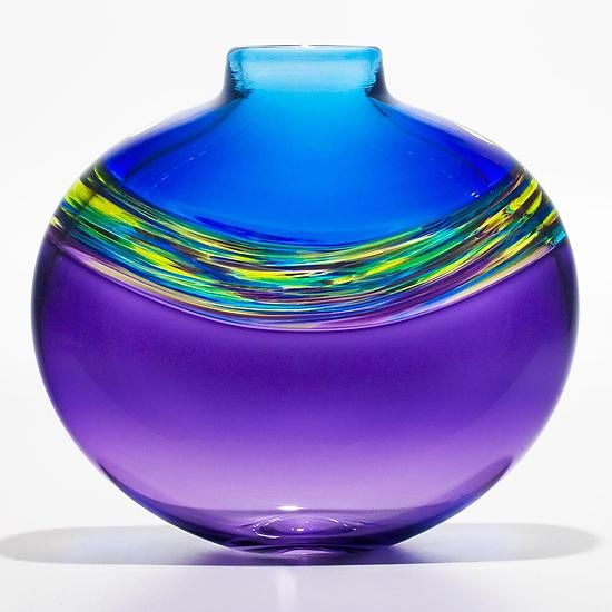 """Love these colors - """"Transparent Banded Vortex Vase in Cerulean Cool Lime and Grape"""" created by Michael Trimpol - a flattened vase with 3 distinct bands, the middle being a swirl of colors the top and bottom solid colors. Hot constructed, free-blown and flattened."""