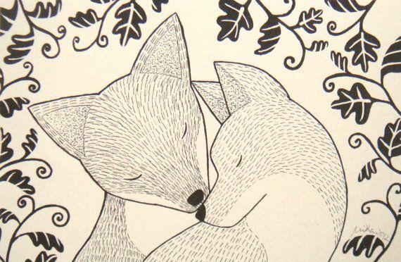 Fox Ink Drawing Illustration Print White or Ivory Woodland Wedding Love Black & White Home Decor 4x6 via Etsy