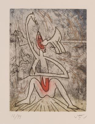 """Matta """"Homenaje a Julio Cortázar"""", 1984. Aguafuerte sobre Cobre de 20,7x15,7 cm., Papel  de 250 gr. de medidas 37,8x28,2 cm. Ej.: 99 #art #etching"""