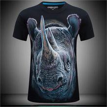 Büyük Artı boyutu 6XL erkek Taze nefes yaz kısa kollu t gömlek baskı 3D hayvan t shirt serin 3d gergedan baskı t-shirt(China (Mainland))