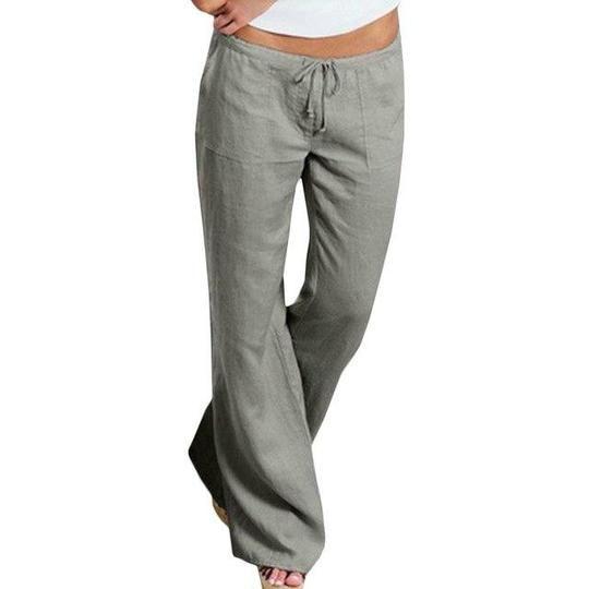 Women High Waist Elastic Linen Trousers Female Straight Casual Pants Loose Longrricdress