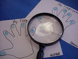 fingerprints activity-love the idea of having all of the kids fingerprints in the science center to compare