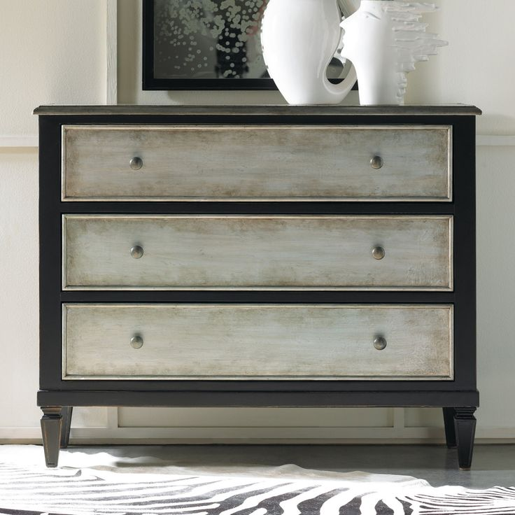 Hooker Furniture Two Tone Aluminum Wrap & Black 3 Drawer Chest - 5051-85122