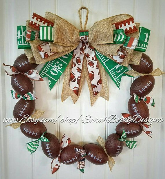 Check out this item in my Etsy shop https://www.etsy.com/listing/468226445/football-wreath-perfect-decor-for-avid