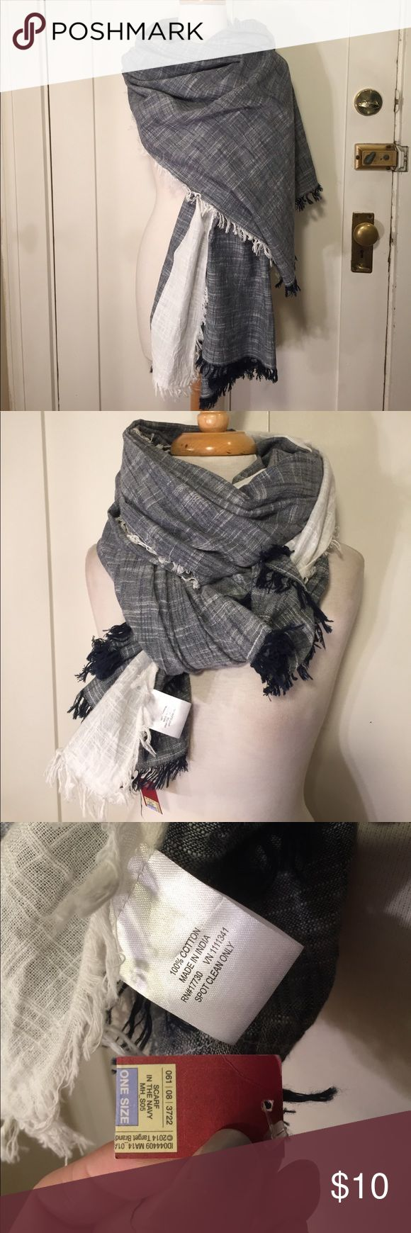 Merona large scarf or wrap navy white cotton NWT This is a large blue and white scarf from Merona.New with tags, cotton with fringe ends. See pictures for details. Be sure and check out other items in closet and bundle to receive discounts. Merona Accessories Scarves & Wraps