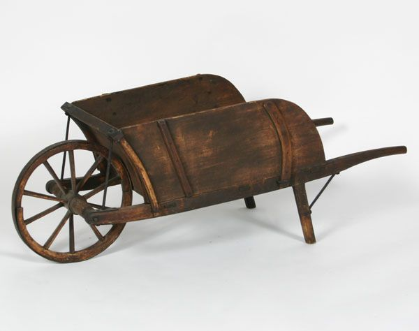 Child's Antique Primitive Wooden Wheelbarrow | Antique Helper