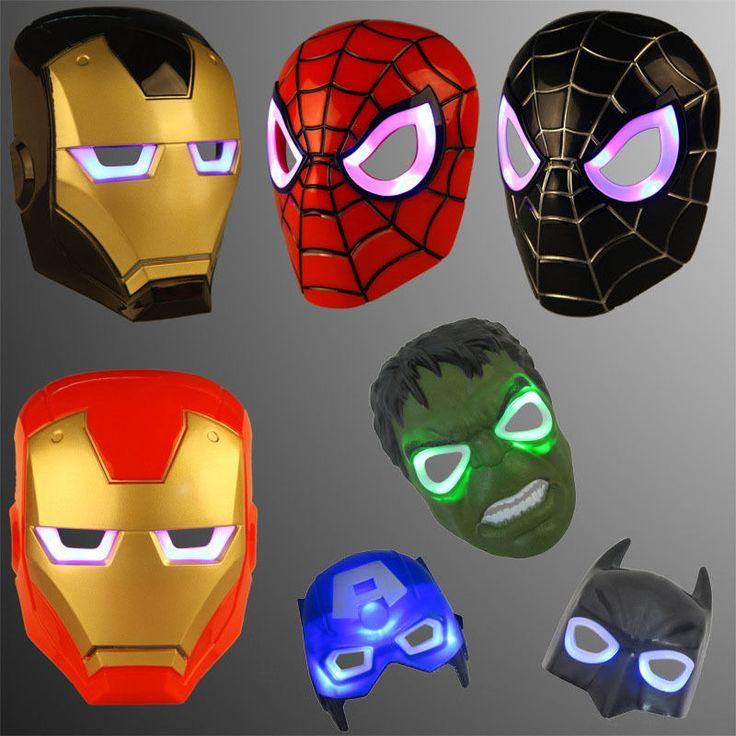 Kids Glow Led Face Mask Children Superhero Light Costume Halloween Cartoon Movie #KidsGlow #FullFace #CosplayParty