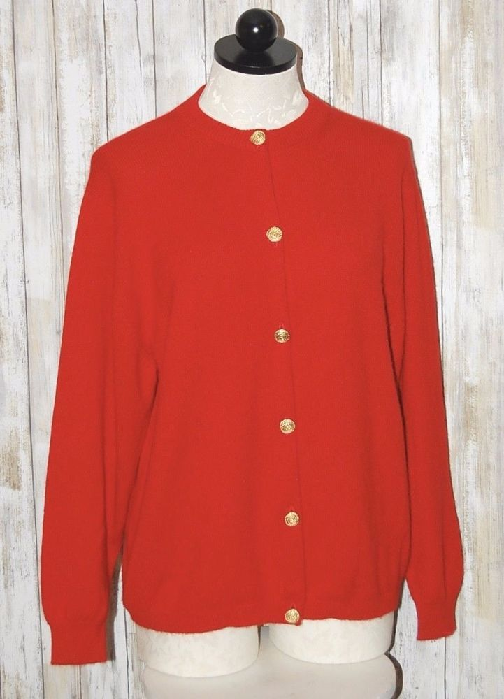 BALMORAL Scotland 100% Cashmere Red Cardigan Sweater XL  | eBay