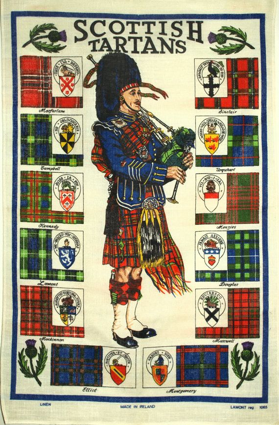 Lamont Scottish Tartan Tea Towel  Vintage Scottish by FunkyKoala
