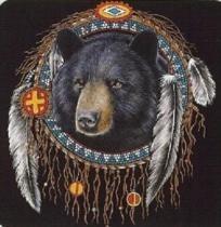 BLACK BEAR DREAM CATCHER CROSS STITCH PATTERN